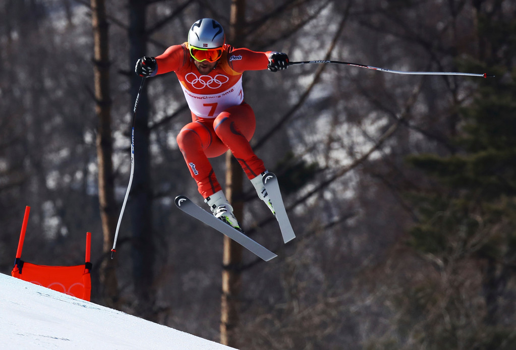 . Norway\'s Aksel Lund Svindal skis during the men\'s downhill at the 2018 Winter Olympics in Jeongseon, South Korea, Thursday, Feb. 15, 2018. (AP Photo/Alessandro Trovati)