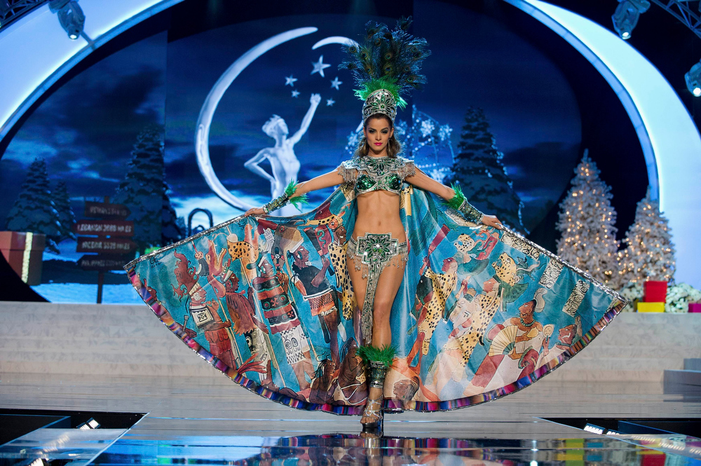 Description of . Miss Guatemala Laura Godoy performs onstage at the 2012 Miss Universe National Costume Show at PH Live in Las Vegas, Nevada December 14, 2012. The 89 Miss Universe contestants will compete for the Diamond Nexus Crown on December 19, 2012. REUTERS/Darren Decker/Miss Universe Organization L.P./Handout