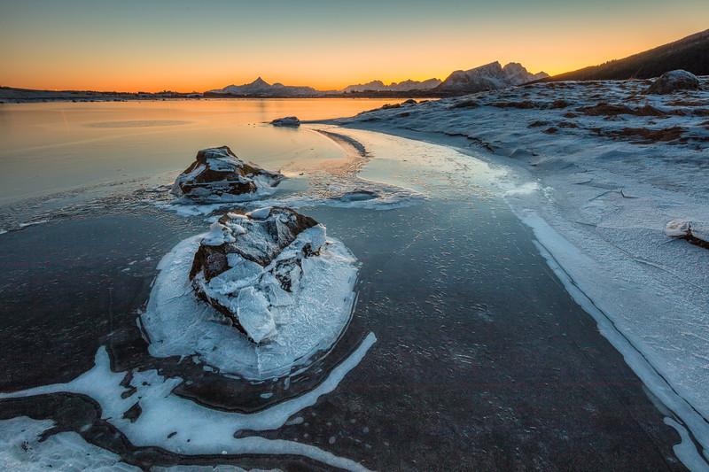 At the frozen lake at sunset