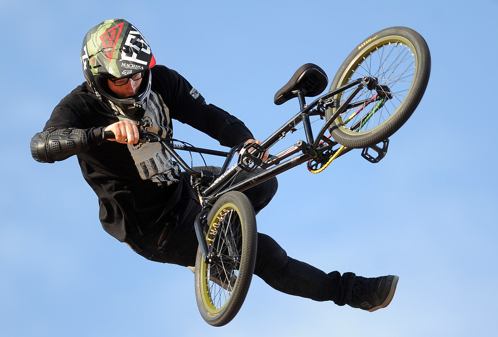 . Zack Warden finished third, winning the bronze medal during the GoPro BMX Big Air Final at Irwindale Speedway on Friday, Aug. 2, 2013 in Irwindale, Calif. Morgan Wade won the gold medal.  (Keith Birmingham/Pasadena Star-News)