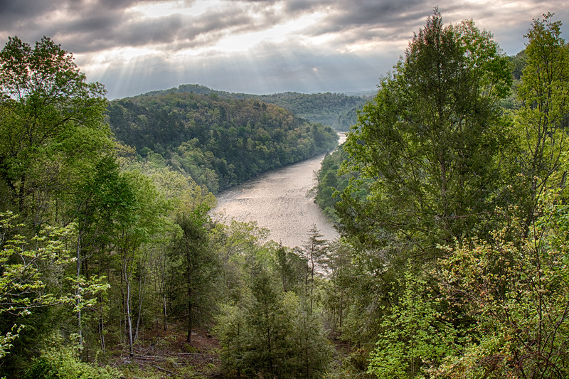 4-21-17.  The view  of the Cumberland River from the terrace of the Dupont Lodge.