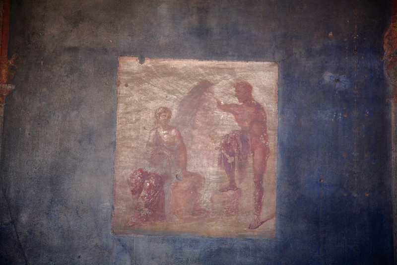A fresco in the market at Pompeii -- sort of an ad from 2,000 years ago.