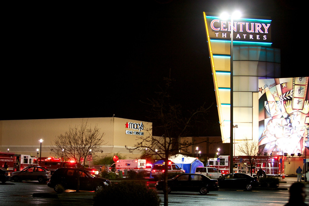 . CLACKAMAS, OR - DECEMBER 11:  Emergency vehicles gather outside the Clackamas Town Center mall after a shooting on December 11, 2012 in Clackamas, Oregon. According to reports, two victims and the gunman are dead after emergency dispatchers received reports that a shooting had occurred and a man was seen with an assault rifle near the mall\'s food court around 3:29 p.m. (Photo by Craig Mitchelldyer/Getty Images)