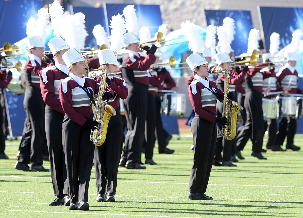 . The Dobyns-Bennett High School Marching Indian Band from Kingsport, Tennessee performs during the 34th Annual Pasadena Tournament of Roses Bandfest at Pasadena City College on Monday December 30, 2013. (Staff Photo by Keith Durflinger/Pasadena Star-News)