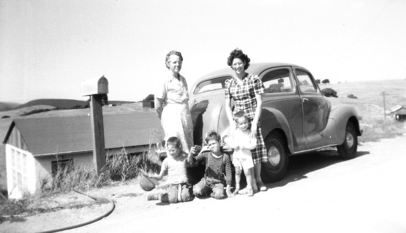Goldie Hopkins, Marjorie, Tad and Bobby Hamlin and Tommy Lee Little at the Hamlin farm in Concord, California in about 1949.
