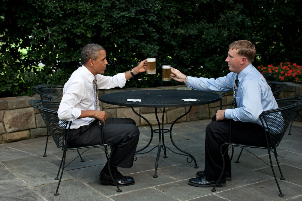 ". Sept. 14, 2011 ""The President offers a toast to Medal of Honor recipient Dakota Meyer on the patio outside of the Oval Office. Before receiving the Medal, Meyer said he wished he could have a beer with the President; the President granted his wish and the next day awarded him the Medal during a ceremony at the White House.\"" (Official White House Photo by Pete Souza)"