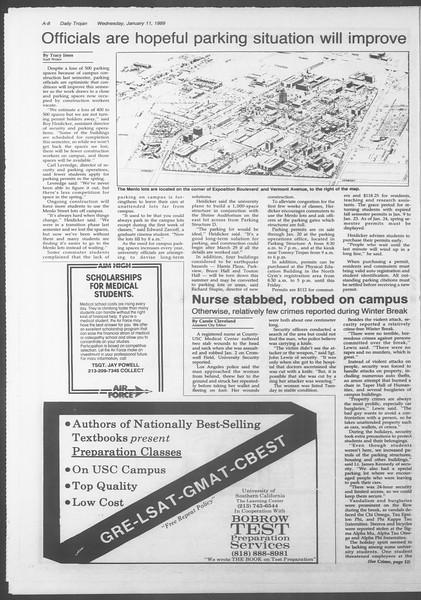 Daily Trojan, Vol. 108, No. 1, January 11, 1989