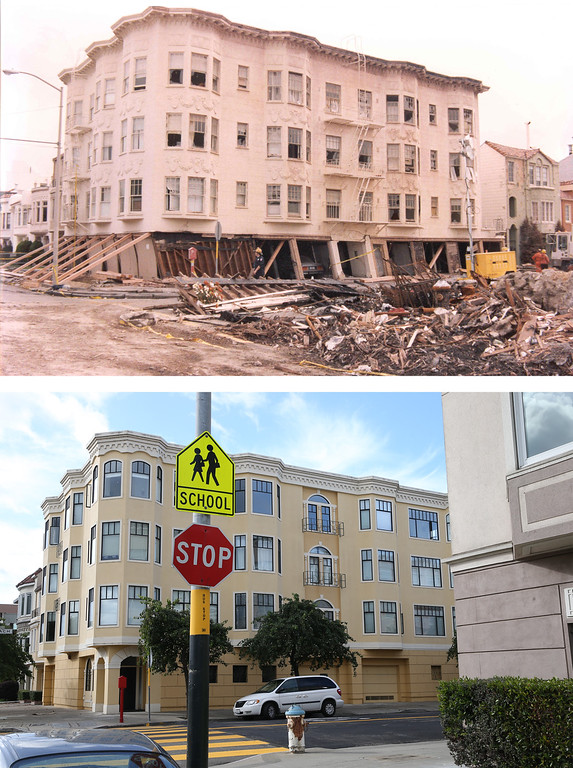 . SAN FRANCISCO, CA - OCTOBER 15: In this before-and-after composite image, (Top) An apartment builing on the corner of Beach and Divisadero is seen shored up after the Loma Prieta earthquake struck on October 17, 1989 in San Francisco, California. (Photo by FEMA News Photo via Getty Images)   SAN FRANCISCO, CA - OCTOBER 15: (Bottom) Apartment buildings built after the 1989 Loma Prieta earthquake stand on the corner of Beach and Divisadero on October 15, 2014 in San Francisco, California. It has been 25 years since the 6.9 Loma Prieta earthquake rocked the San Francisco Bay Area at 5:04PM on October 17, 1989 causing widespread damage to buildings and roadways. 63 people died and nearly 4,000 were injured. (Photo by Justin Sullivan/Getty Images)