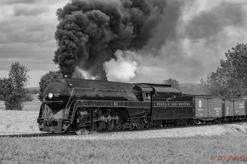 Strasburg RR - 611 382 Sunset Lerro Photo 5DsR Shoot - 611 Left Profile Hvy Smoke BW-7317.jpg
