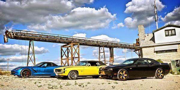 Corvette Camaro Challenger at Quarry