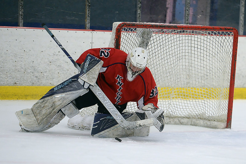 #32, Logan Beattie, Goalie for the Wall Township High School Boy's Varsity Ice Hockey Team was busy against Manasquan High School as they soundly defeated Wall at the Jersey Hore Arena on 01/30/2019.