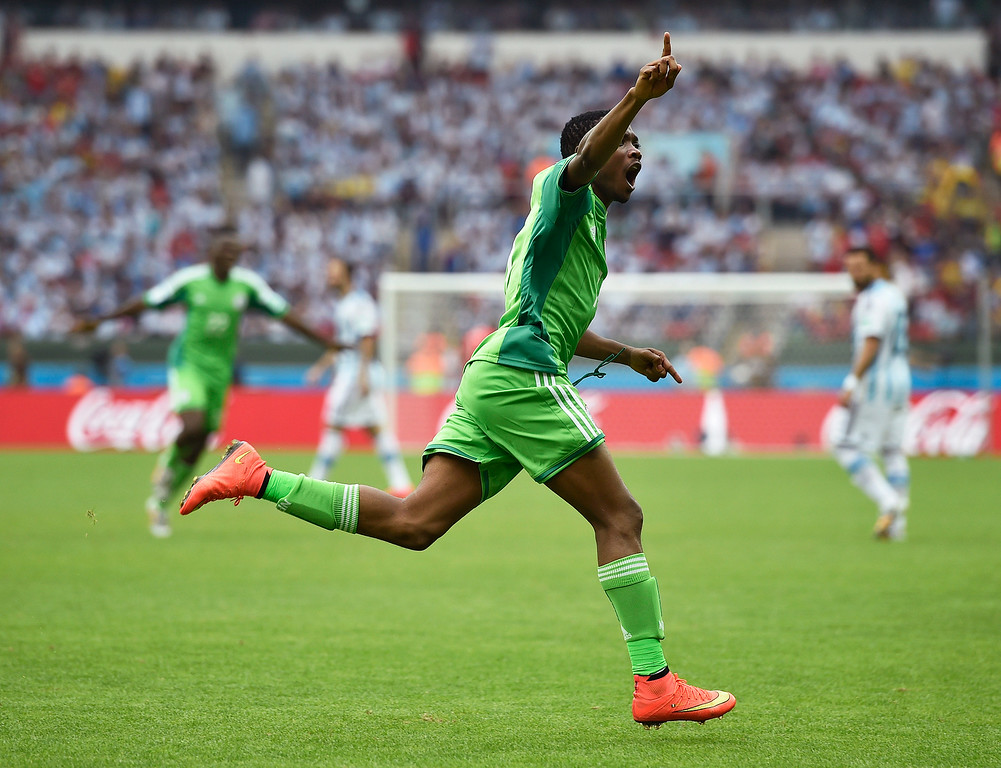 . Nigeria\'s Ahmed Musa (7) celebrates after scoring his side\'s second goal during the group F World Cup soccer match against Argentina at the Estadio Beira-Rio in Porto Alegre, Brazil, Wednesday, June 25, 2014.  (AP Photo/Martin Meissner)