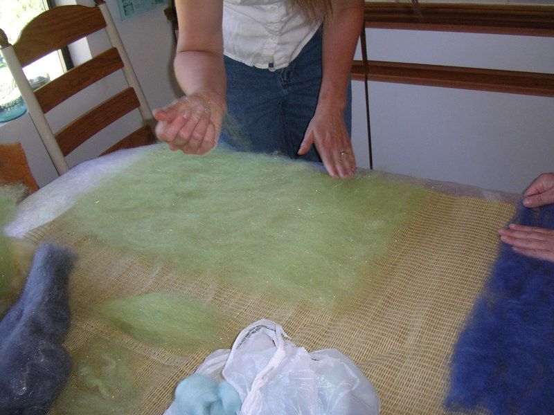 Tracie's sparkly green wool.