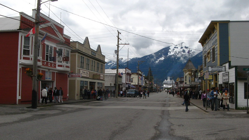 Skagway, Alaska with a cruise ship in the distance