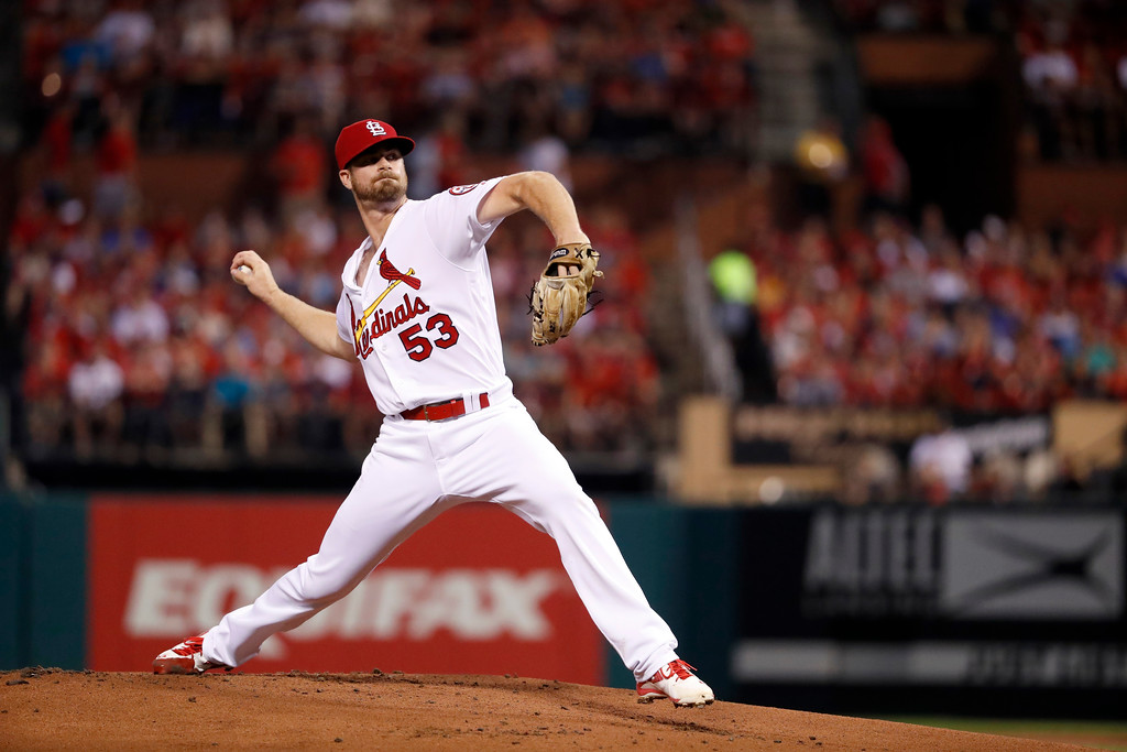 . St. Louis Cardinals starting pitcher John Gant throws during the first inning of a baseball game against the Cleveland Indians Monday, June 25, 2018, in St. Louis. (AP Photo/Jeff Roberson)