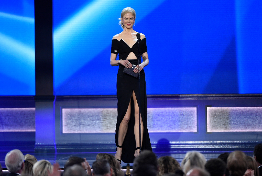 . Nicole Kidman presents the award for best actor at the 22nd annual Critics\' Choice Awards at the Barker Hangar on Sunday, Dec. 11, 2016, in Santa Monica, Calif. (Photo by Chris Pizzello/Invision/AP)