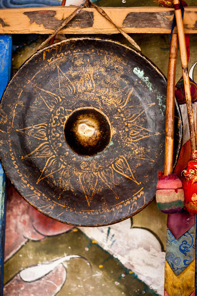 The gong awaits its turn to summon the monks to class in Trongsa
