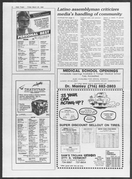 Daily Trojan, Vol. 91, No. 51, March 26, 1982