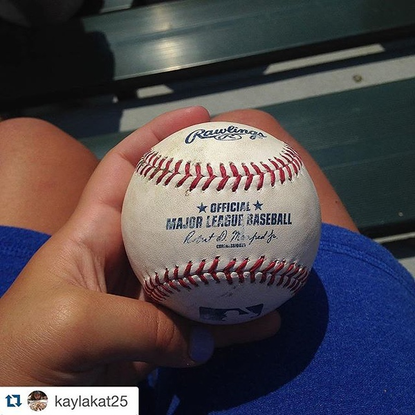 So awesome: Repost @kaylakat25 : In the beginning of the game, they were throwing balls out to fans. This big guy next to me caught a ball. I was kind of disappointed (why wouldn't you be) and this awesome guy gave it to me. This proves there are kind peo