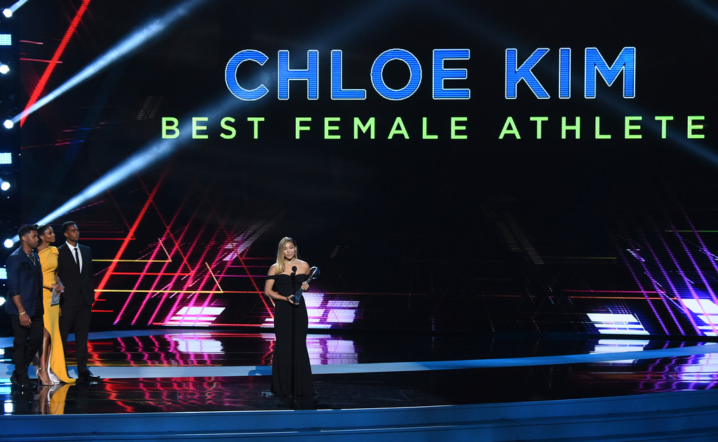 . Snowboarder Chloe Kim accepts the award for best female athlete, at the ESPY Awards at Microsoft Theater on Wednesday, July 18, 2018, in Los Angeles. (Photo by Phil McCarten/Invision/AP)