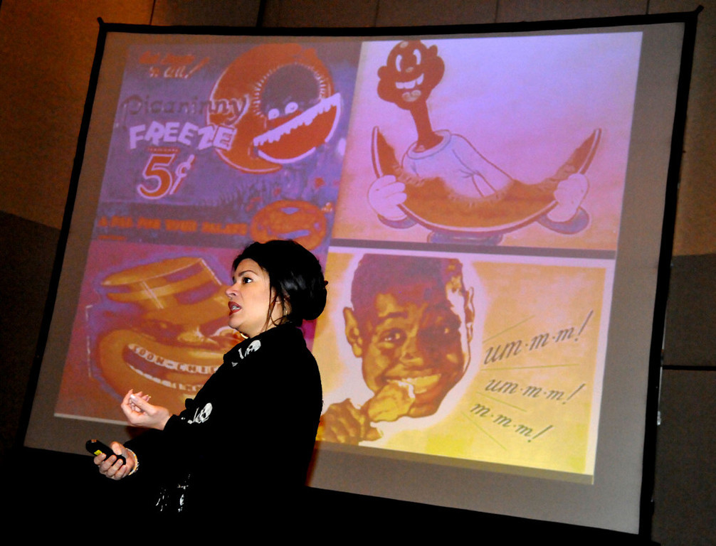 . Sarah Bellamy, Associate Artistic Director at Penumbra Theatre Company in St. Paul, holds a workshop on the use of theater as a safe place for participants to explore issues of race, racism and equity.  (Pioneer Press: John Doman)