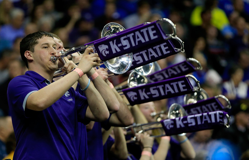 . KANSAS CITY, MO - MARCH 22:  The Kansas State Wildcats band performs in the second half against the La Salle Explorers during the second round of the 2013 NCAA Men\'s Basketball Tournament at the Sprint Center on March 22, 2013 in Kansas City, Missouri.  (Photo by Jamie Squire/Getty Images)