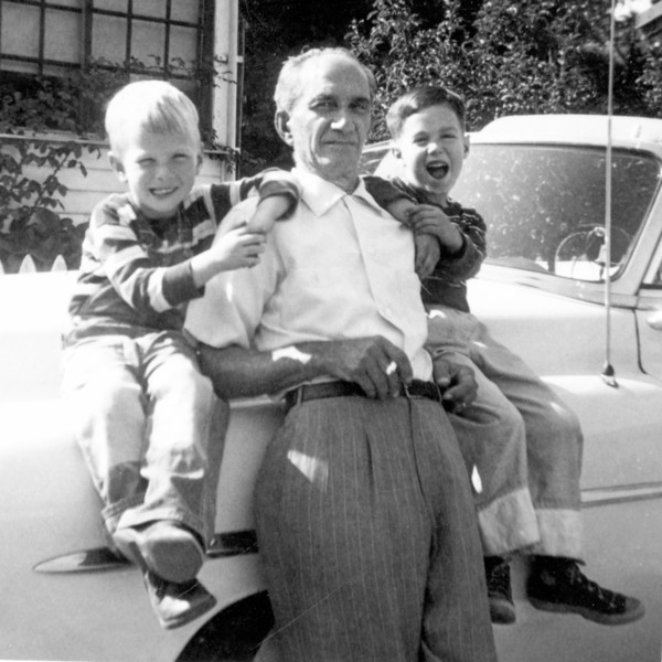 Me and Pop with friend (L) in Marin Cnty 1955