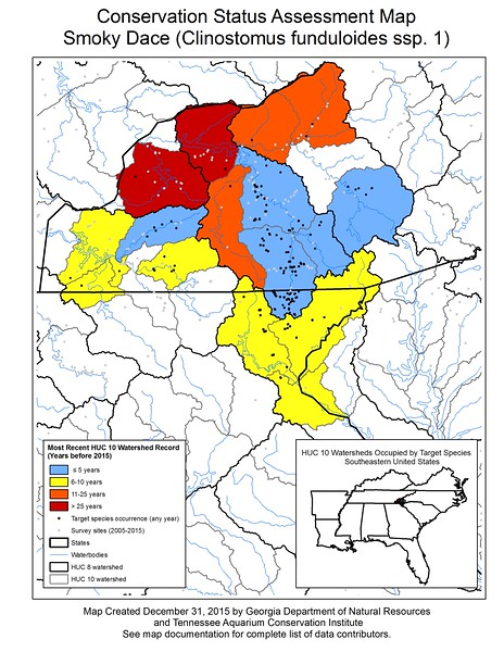 Conservation Status Assessment Map for Smoky Dace (Clinostomus funduloides spp. 1)