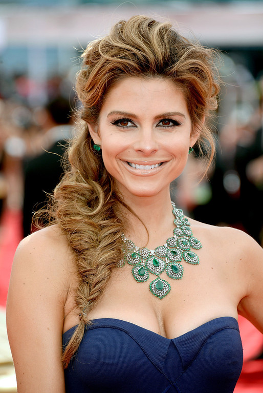 . TV personality Maria Menounos arrives at the 65th Annual Primetime Emmy Awards held at Nokia Theatre L.A. Live on September 22, 2013 in Los Angeles, California.  (Photo by Frazer Harrison/Getty Images)