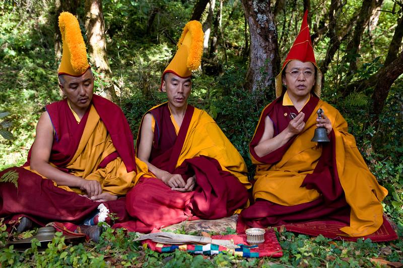 Sand Mandala ritual on Mani Rimdu Festival. Solu, Nepal.