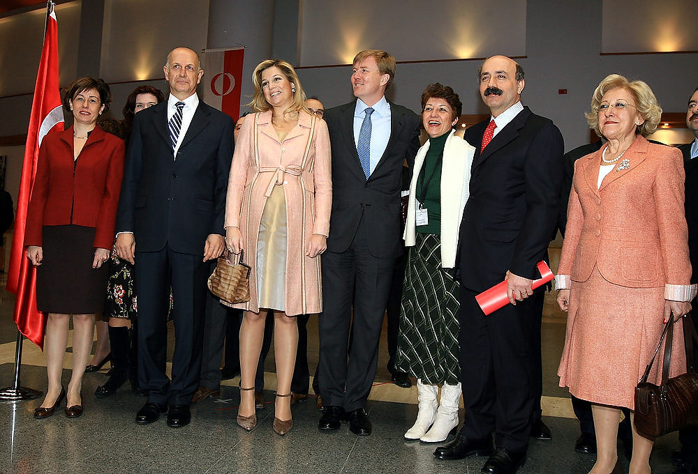 Description of . Prince Willem-Alexander of the Netherlands and his pregnant wife Princess Maxima of the Netherlands visit Middle East Technical University (METU) on February 28, 2007, in Ankara, Turkey. The Dutch royal family arrived in Ankara on Tuesday for a four-day official visit to Turkey. (Photo by Stringer/Getty Images)