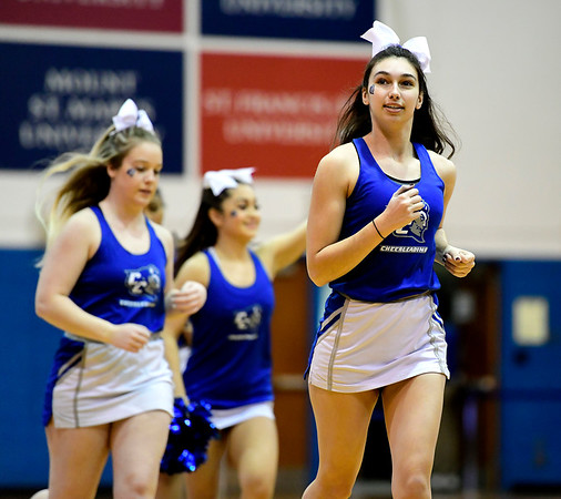1/19/2019 Mike Orazzi | Staff CCSU cheerleaders during Saturday's womens basketball game with Saint Francis University in New Britain.