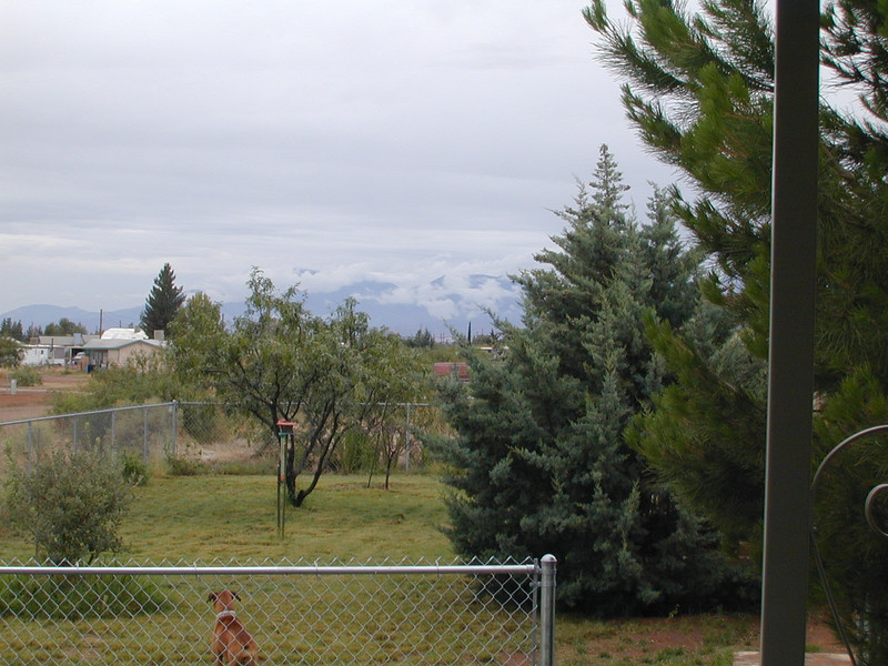 Low clouds over the Huachuca Mountains.