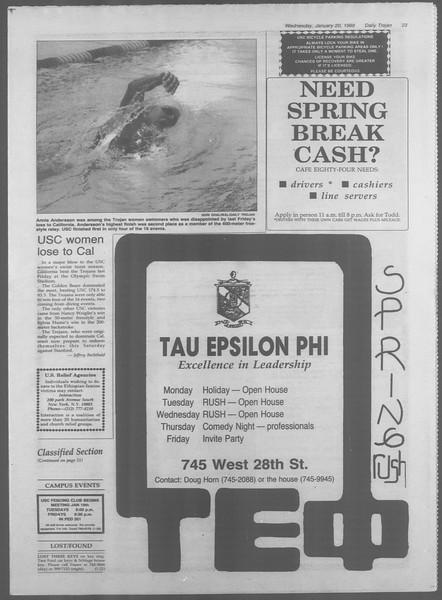 Daily Trojan, Vol. 106, No. 7, January 20, 1988