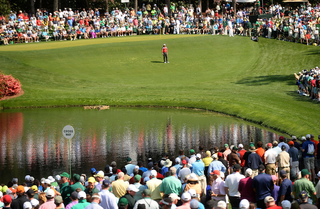 . French golfer Victor Dubuisson competes in the Par-3 Contests at the Masters Tournament at Augusta National Golf Club Augusta, Georgia, April 9, 2014. EMMANUEL DUNAND/AFP/Getty Images