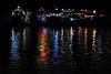 River boat lights reflected in the Mekong river Phnom Penh.
