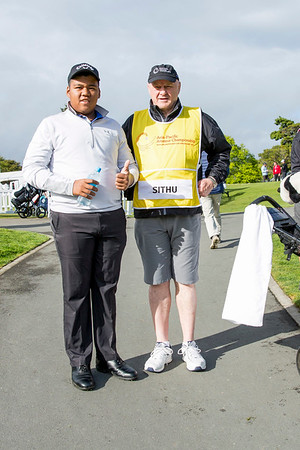 Hein Sithu from Myanmar with his caddy after hitting off the 1st tee on Day 1 of competition in the Asia-Pacific Amateur Championship tournament 2017 held at Royal Wellington Golf Club, in Heretaunga, Upper Hutt, New Zealand from 26 - 29 October 2017. Copyright John Mathews 2017.   www.megasportmedia.co.nz