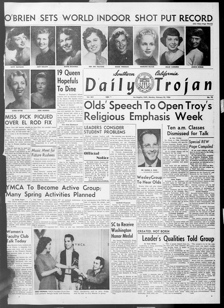 Daily Trojan, Vol. 45, No. 78, February 22, 1954
