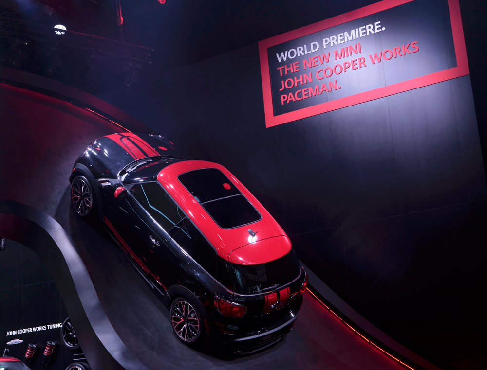 . The 2014 Mini John Cooper Works Paceman is displayed on a ramp at the North American International Auto Show in Detroit, Michigan January 14, 2013.  REUTERS/Rebecca Cook