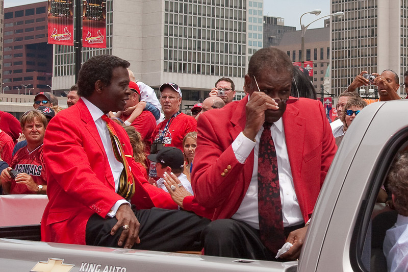 "Lou Brock and Bob Gibson, Cardinals Hall of Famers, 2009 MLB All Star Game ""Red Carpet Show"", St. Louis, MO"