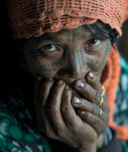 Portrait of a woman from the Muun tribe.  Chin State, Myanmar, 2017