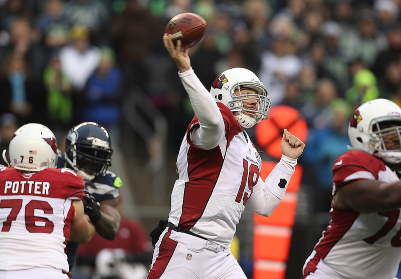 . John Skelton #19 of the Arizona Cardinals throws a ball that was intercepted by Seattle Seahawks at CenturyLink Field on December 9, 2012 in Seattle, Washington.  (Photo by Kevin Casey/Getty Images)