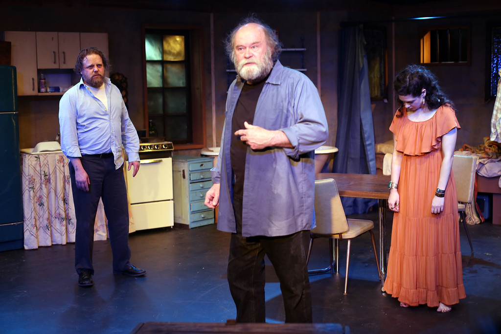 . Bryant Carroll, left,Robert Hawkes and Diana Frankhauser perform a scene in none too fragile�s �The Late Henry Moss.� The show continues through March 31 at the Akron theater. For more information, visit www.nonetoofragile.com. (Brian Kenneth Armour)