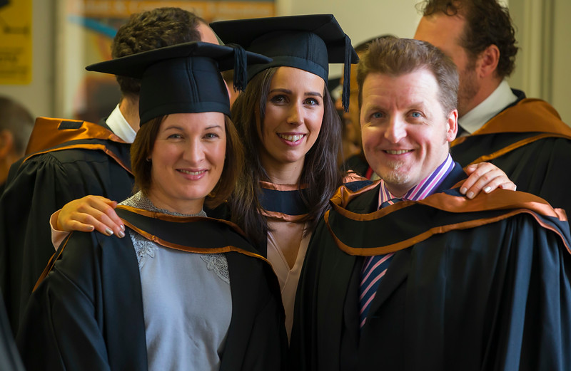 02/11/2016. Waterford Institute of Technology (WIT) Conferring Ceremonies November 2016. Pictured are Kari Alyward from Mullinavat, Co. Kilkenny, Siobhan Galvin, Faithlegg Waterford and Evan Brady, Ballycallan Kilkenny who graduated Higher Diploma in Science in Business Systems Analysis. Picture: Patrick Browne