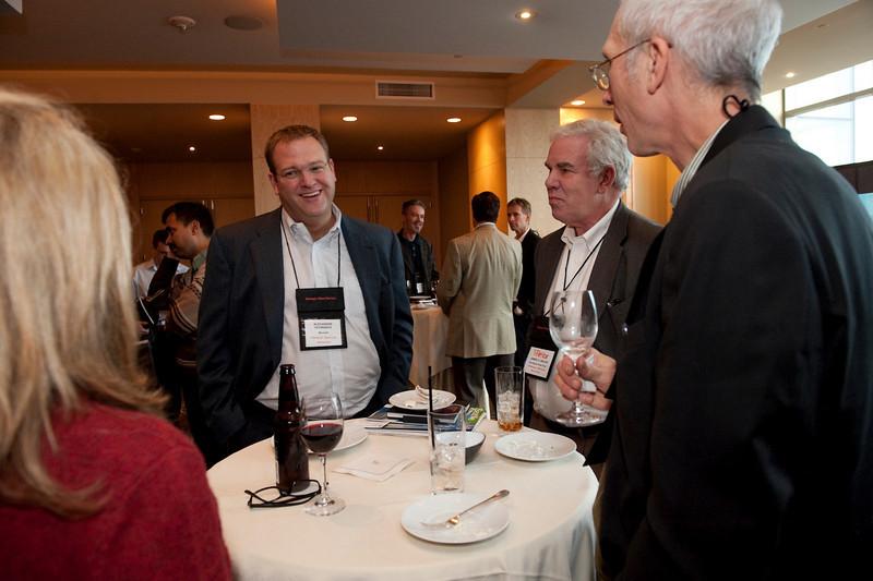 FiReStar Exhibition: (L-R) Christina Richards, Director of Marketing for FiReStar company SkyFiber Inc.; Alexander Gounares, CTO of Microsoft Online Services; Jim Waldo, Strategic Adviser, Sea Breeze Power Corp.; and Eric Scigliano, News Editor, Seattle Metropolitan magazine