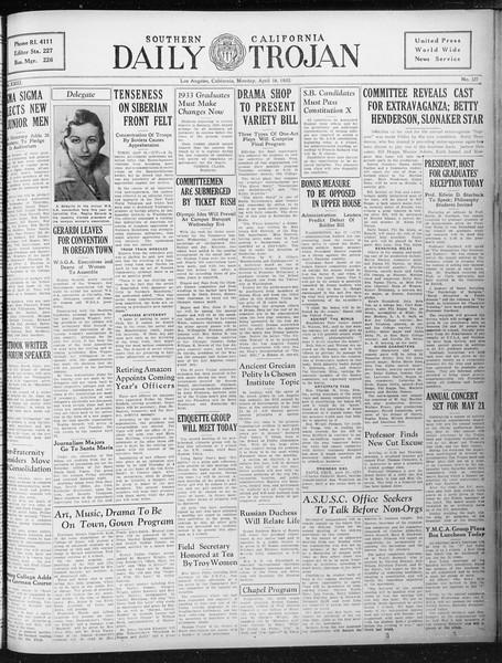 Daily Trojan, Vol. 23, No. 127, April 18, 1932