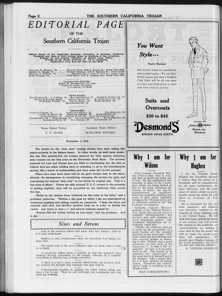 The Southern California Trojan, Vol. 8, No. 28, November 03, 1916