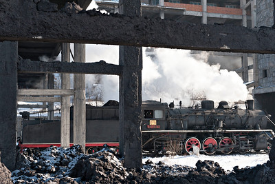 SY #1437 leaves Beichang Washery past the coal slurry dump