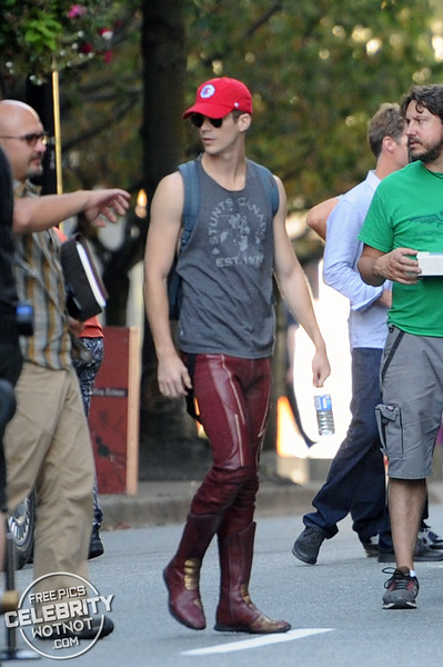 "Grant Gustin Wears A ""Stunts Canada� Vest With Stunt Double Film Stunt Scenes For The Flash"