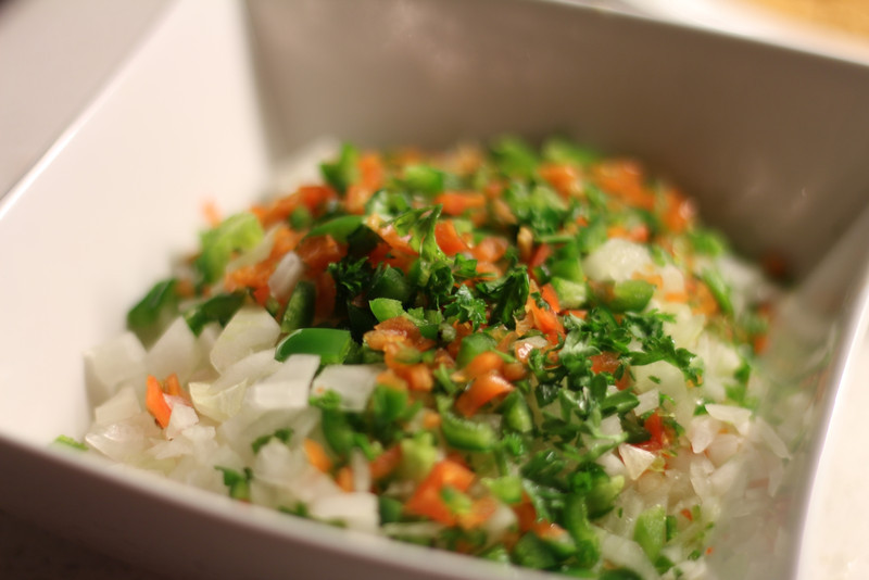 Fresh ingredients... onions, chili, jalapeno & habanero peppers, garlic, herbs & spices